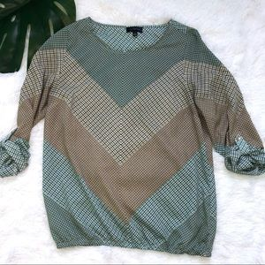 The Limited   Chevron Checkered Roll Up Blouse   S